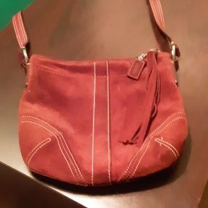 EUC Authentic Coach Maroon Suede crossbody bag